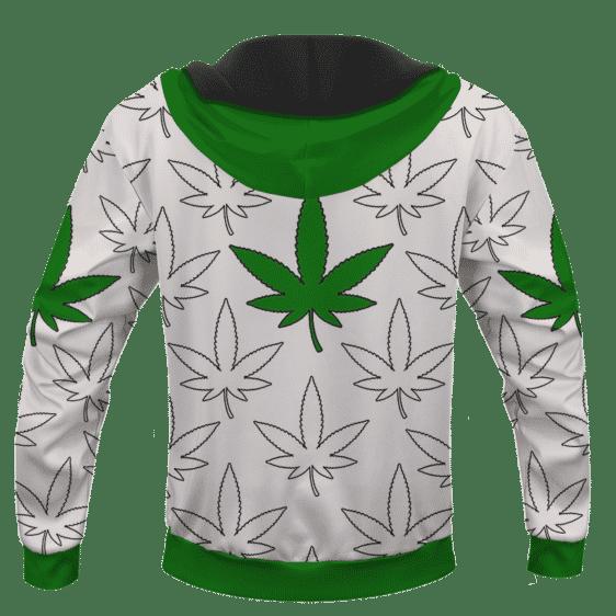 Marijuana Green Print Pattern Cannabis 420 Themed Hoodie