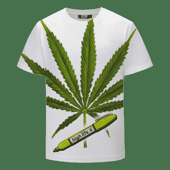 Marijuana Leaf 420 Weed Kush High Life Dope White T-shirt