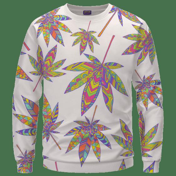 Marijuana Leaf Rainbow Colors All Over Print White Awesome Crewneck Sweater