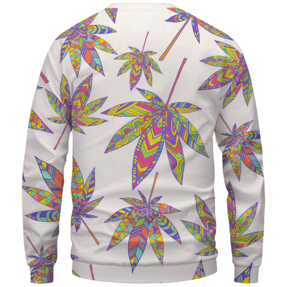 Marijuana Leaf Rainbow Colors All Over Print White Awesome Crewneck Sweater - Back Mockup
