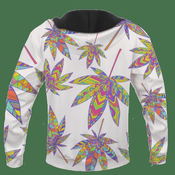 Marijuana Leaf Rainbow Colors All Over Print White Awesome Hoodie