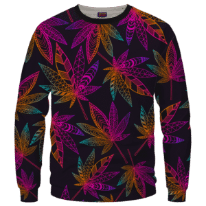 Marijuana Leaf Trippy Colors All Over Print Cool Sweatshirt - Front Mockup