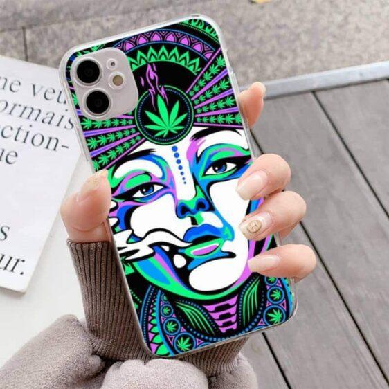 Marijuana On My Mind Mesmerizing Neon Pattern iPhone 12 Case