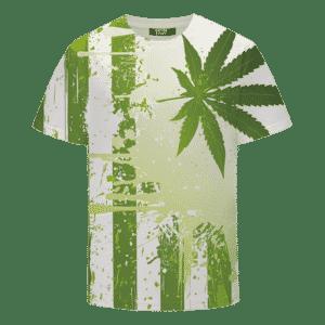 Marijuana Pot Weed Hemp Flag Green Dope Cool T-shirt