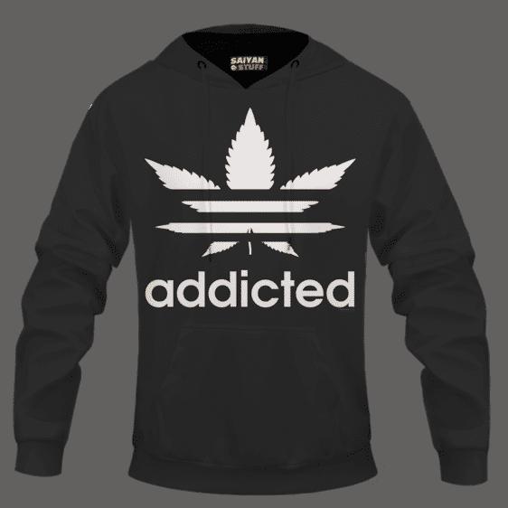Marijuana Weed Adidas Addicted Logo Black Hoodie