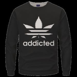 Marijuana Weed Adidas Addicted Logo Black Sweatshirt