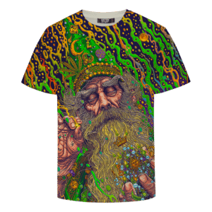Marijuana Wizard Psychedelic Trippy Art Awesome T-shirt