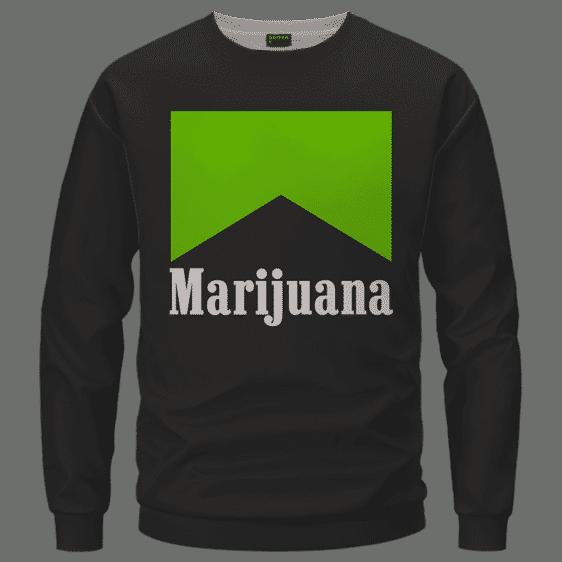 Marlboro Logo Awesome Green Marijuana Spoof Crewneck Sweatshirt