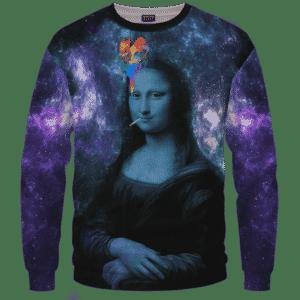 Mona Lisa Collage Smoking Joint Galaxy 420 Trippy Sweatshirt