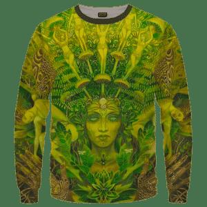 Mother Nature Cannabis Inspired Art All Over Crewneck Sweatshirt