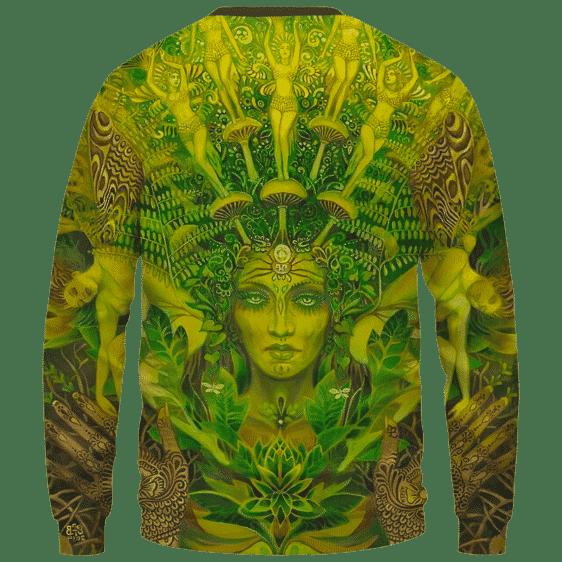 Mother Nature Cannabis Inspired Art All Over Crewneck Sweatshirt - Back Mockup