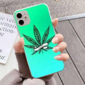 Neon Blue Green Legalize Marijuana Leaf iPhone 12 Case