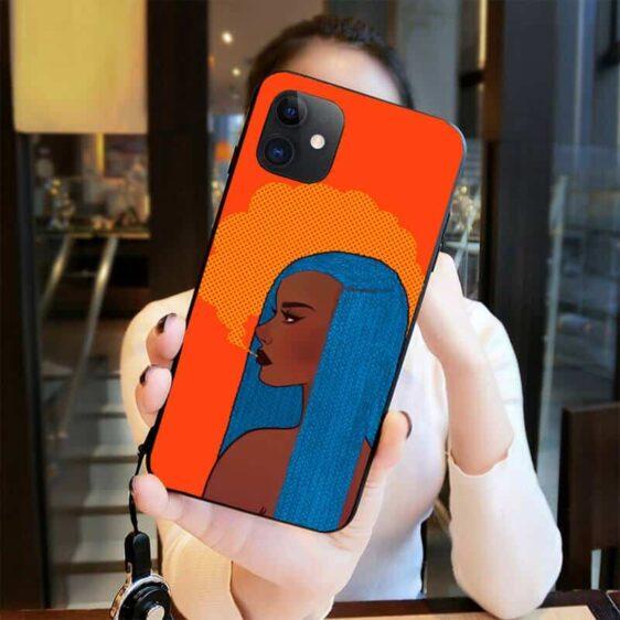 Orange Pop Art Blue-Haired Girl Smoking Weed iPhone 12 Case