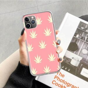 Pink Fun-Sized Marijuana Leaves Print iPhone 12 Cover