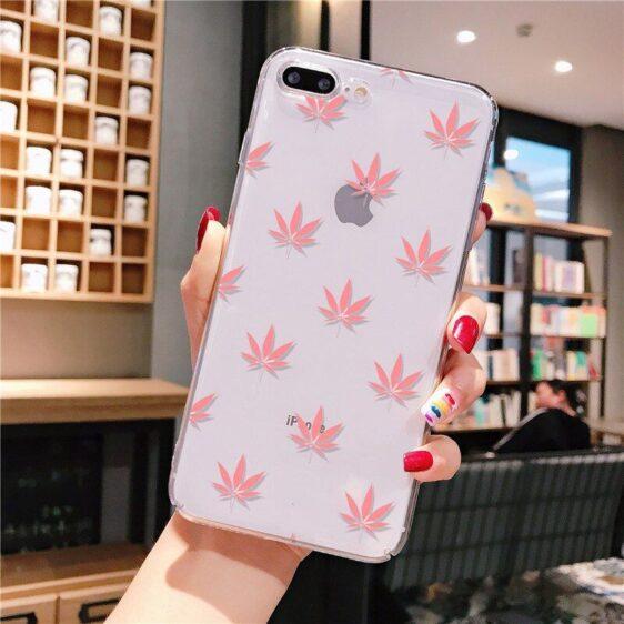 Pink Marijuana Leaves iPhone 12 (Mini, Pro & Pro Max) Case