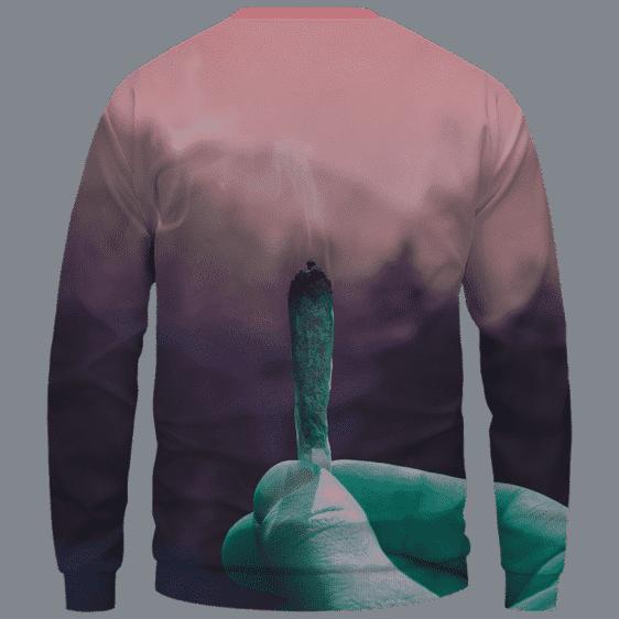 Pink Skies Smoking Weed Joint Art 420 Marijuana Crewneck Sweatshirt Back
