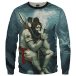 Poseidon Smoking Some Dope 420 Weed All Over Sweater