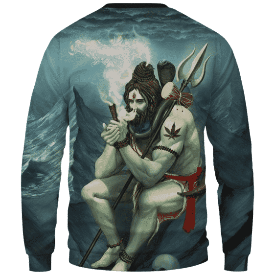 Poseidon Smoking Some Dope 420 Weed All Over Sweater - Back Mockup