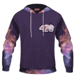 Purple 420 Galaxy Logo Cannabis Themed Colorful Hoodie