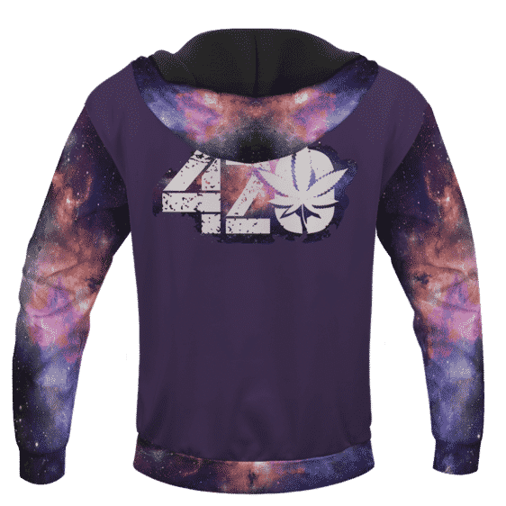 Purple 420 Galaxy Logo Cannabis Themed Colorful Hoodie
