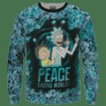 Rick & Morty Peace Among Worlds 420 Marijuana Crewneck Sweatshirt
