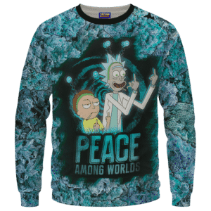 Rick & Morty Peace Among Worlds 420 Marijuana Crewneck Sweatshirt