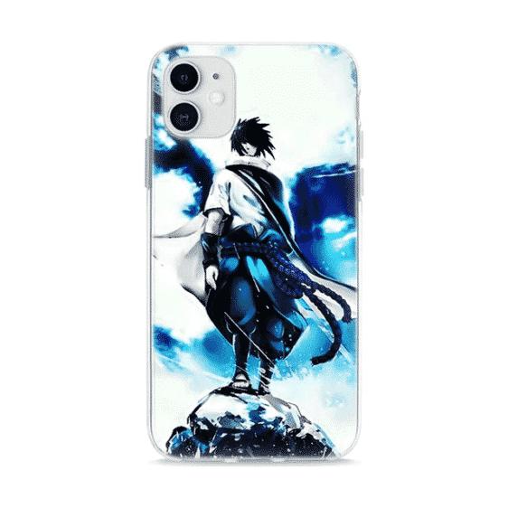 Sasuke Uchiha Tie Dye Style Abstract Blue iPhone 12 Case