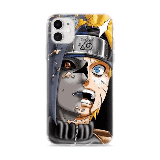 Sasuke Vs Naruto Half Face Vibrant Fan Art iPhone 12 Cover
