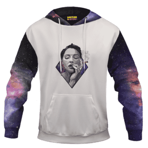 Sexy Women Smoking Blunt In Galaxy Amazing 420 Hoodie