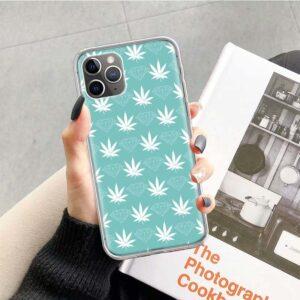 Sky Blue Marijuana Leaf Diamonds Pattern iPhone 12 Cover