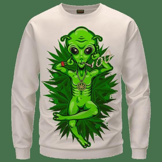 Smoking Marijuana Dope Alien Cool Art Sweater