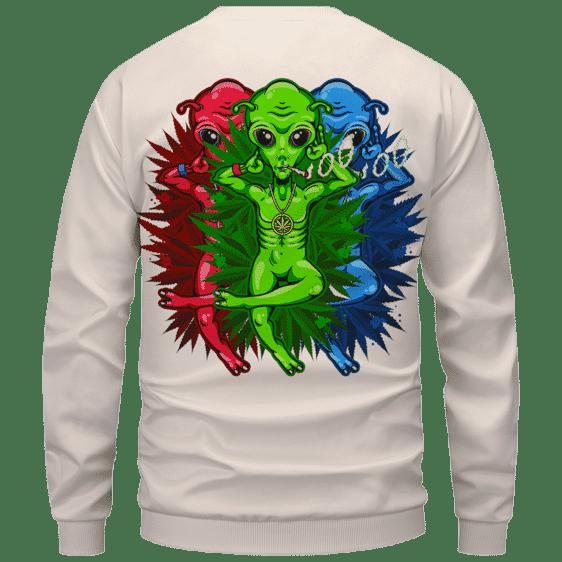 Smoking Marijuana Dope Alien Cool Art Sweater - Back Mockup