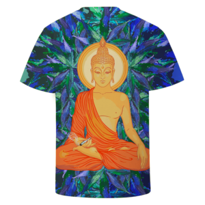 Smoking Pot Meditating Buddha Dope Marijuana Leaves Blue Green T-shirt