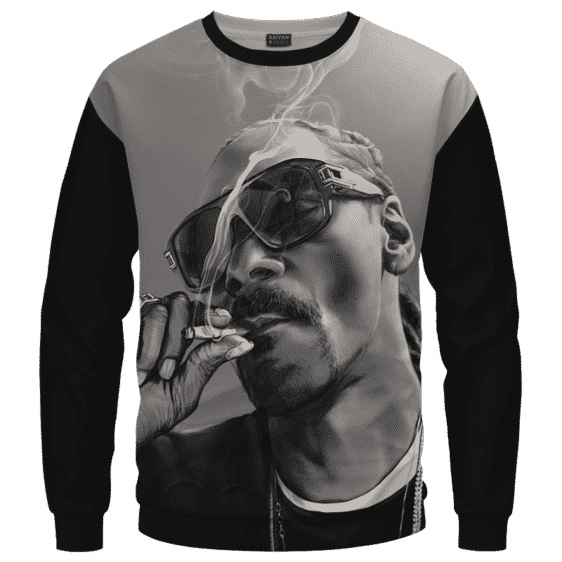 Snoop Dogg Smoking Joint Gray Black Awesome Sweater