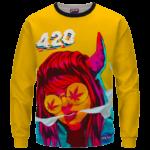 Stoned Girl Smoking Kush Color Splash 420 Marijuana Crewneck Sweatshirt