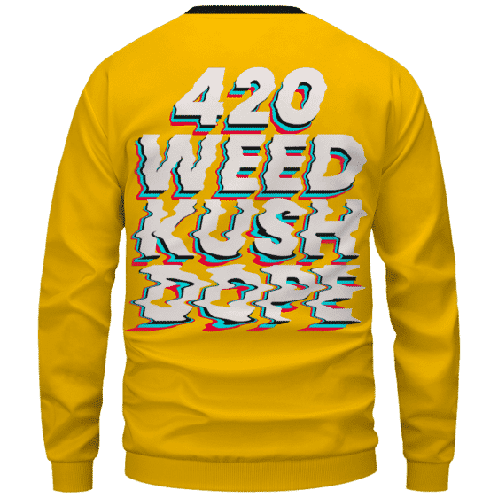 Stoned Girl Smoking Kush Color Splash 420 Marijuana Crewneck Sweatshirt Back