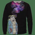 Storm Trooper Smoking Galaxy 420 Marijuana Crewneck Sweatshirt