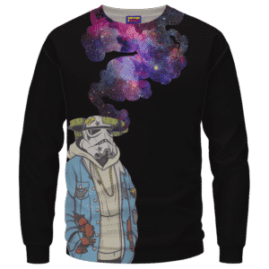 Storm Trooper Smoking Galaxy 420 Marijuana Crewneck Sweatshirt