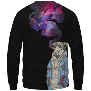 Storm Trooper Smoking Galaxy 420 Marijuana Crewneck Sweatshirt Back
