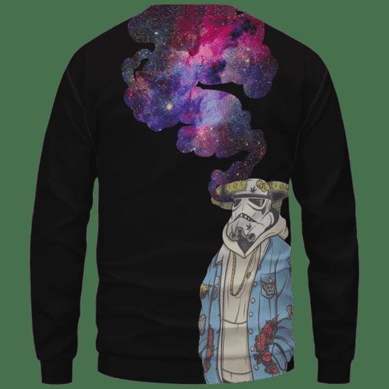 Storm Trooper Smoking Galaxy 420 Marijuana Crewneck Sweatshirt Back