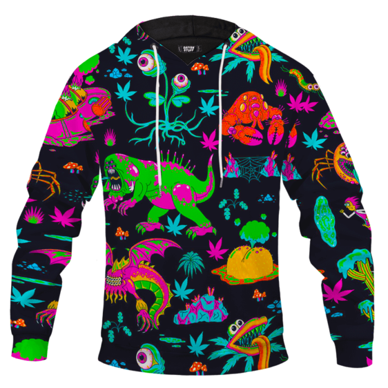 The Adventures of Rick and Morty Monsters Trippy Marijuana Hoodie