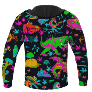 The Adventures of Rick and Morty Monsters Trippy Marijuana Hoodie Back