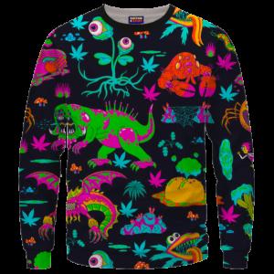 The Adventures of Rick and Morty Monsters Trippy Marijuana Sweatshirt