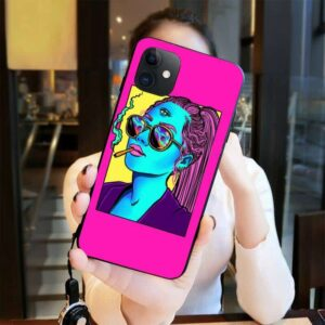 Trippy Pink Pop Art Girl Smoking Weed iPhone 12 Cover