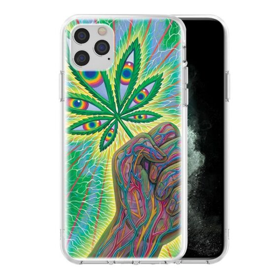 Trippy Weed Leaf With Eyes iPhone 12 (Mini, Pro & Pro Max) Cover
