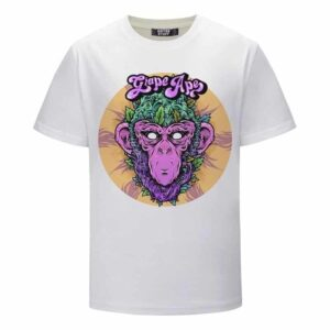 Grape Ape Monkey Marijuana Strain Trippy Vector Art White T-shirt