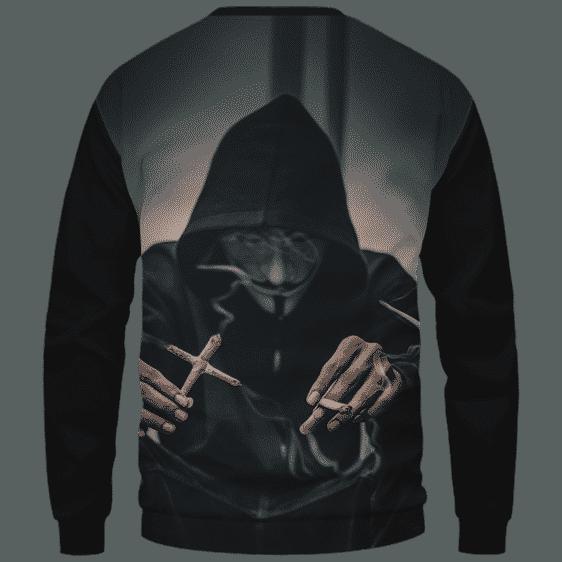 V for Vendetta Mask Cross Joint 420 Marijuana Sweatshirt Back