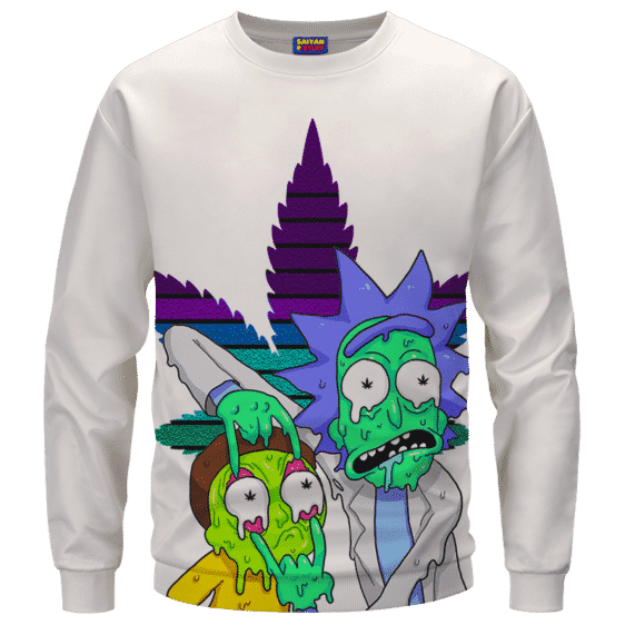 Weed Adventures of Rick and Morty Melting Trippy 420 Sweatshirt