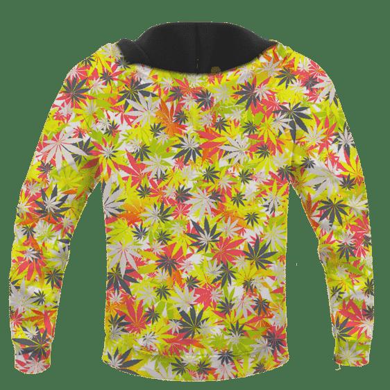 Weed Hemp Marijuana Pattern Colorful All Over Print Hoodie - BACK