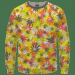 Weed Hemp Marijuana Pattern Colorful All Over Print Sweatshirt
